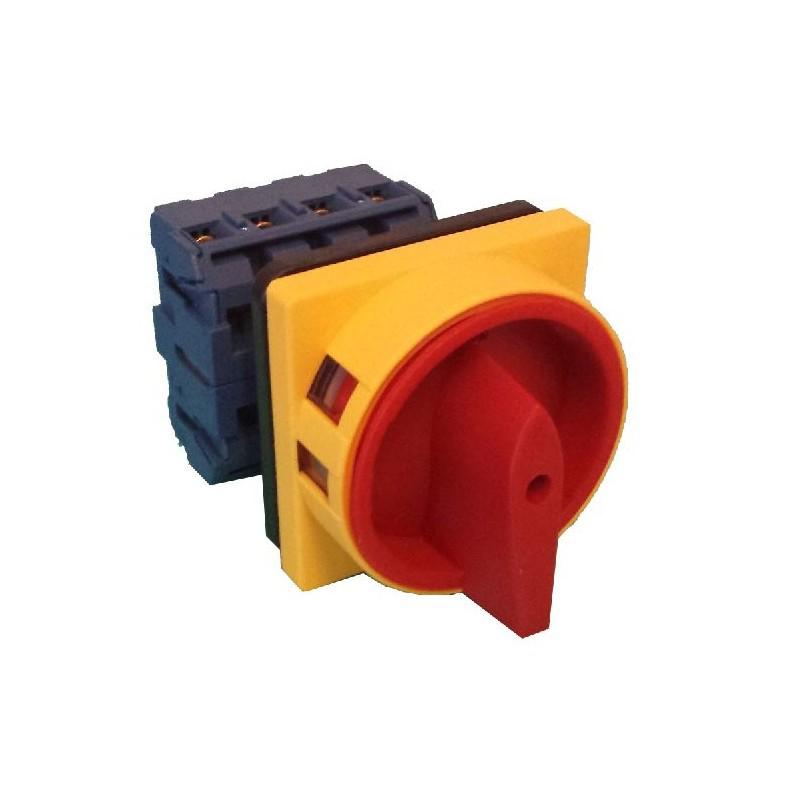 Interruptor seccionador 4 polos 40A mando amarillo-rojo