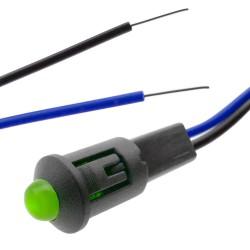 Luz LED piloto de 8mm 230VAC de color verde